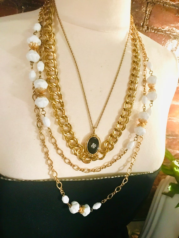 More is better: Get the Look- 3 Exquisite Vintage Necklaces All Styled & CoOrdinated together to Layer Trending and Chic Fashion Ensemble