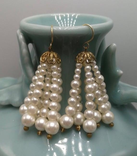 Vintage Faux Pearl Beaded Tassel Dangle Earrings, Prom Wedding or Just feeling Pretty!
