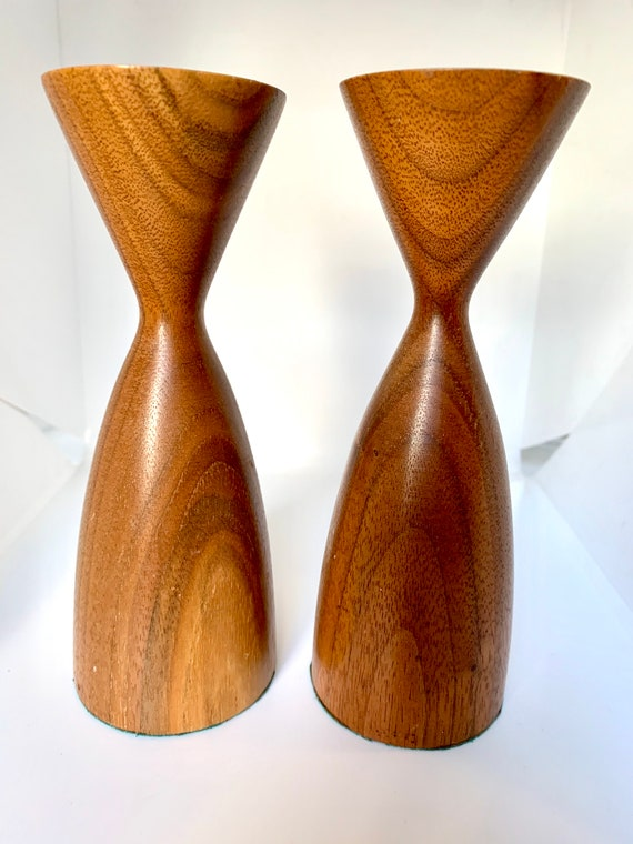 Mid Century Modern Wooden Candle Holders