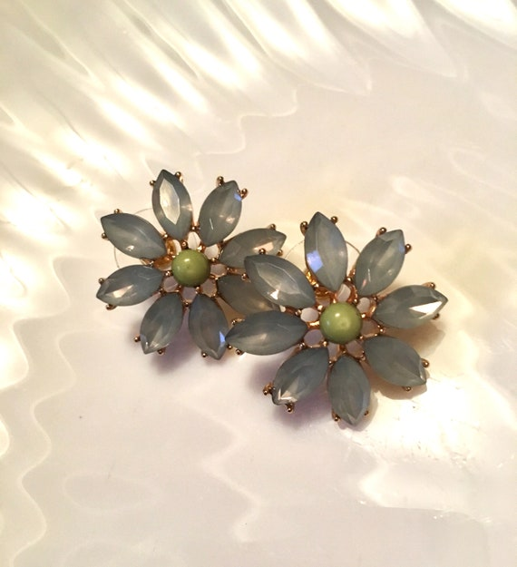 Dusty Blue Givre Juliana Style Prong Set Rhinestone Flower Earrings with Celadon Green Cabochon Centers and Post Backs