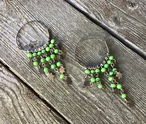 90s Boho Grunge Green Beaded Fringy Hoops with Celestial Stars