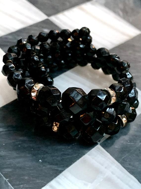 Jett Black Crystal Gem Bracelet, with Rhinestone Rondel Spacers, Elegant Stretch Beaded Cuff