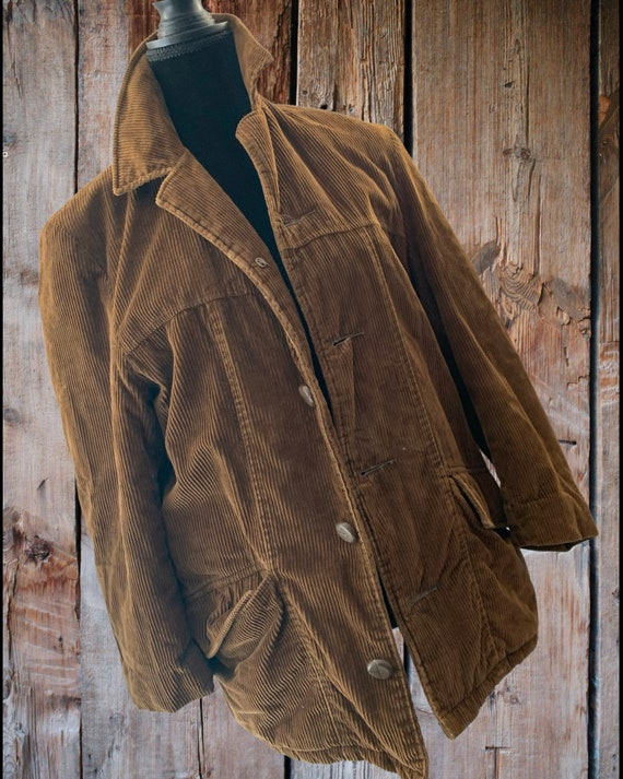 Vintage Brown Corduroy Jacket, Snuggly Old Barn Coat with Quilted Lining Unisex Size 38 made by Fingerhut! autumn to mild winter outerwear