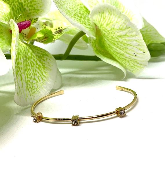 AVON Minimalist Goldtone Rhinestone Bracelet, Vintage 70s Disco Glamour Jewelry, Delicate & Dainty