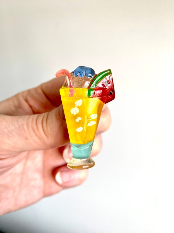 Awesome 80s Lucite Tropical Cocktail Pin Brooch, Watermelon Sugar High with Straw, Ready for Spring Break Vacation