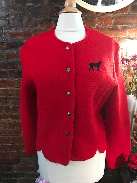 Tally Ho Vintage Preppy Red Wool Cardigan Jacket with Embroidered Dog & Silver Buttons