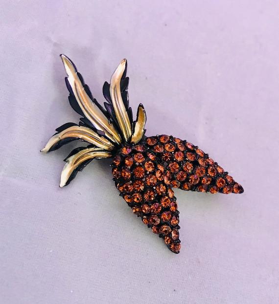 Fruity Veggie Japaned Orange Rhinestone Carrots Papayas Yams? Vintage Lapel Pin Brooch