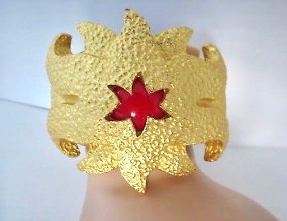 RESERVED LENNARD Massive VIntage 80's Art to Wear  Runway Designer Red Glass Cuff Goldtone Bling Bracelet