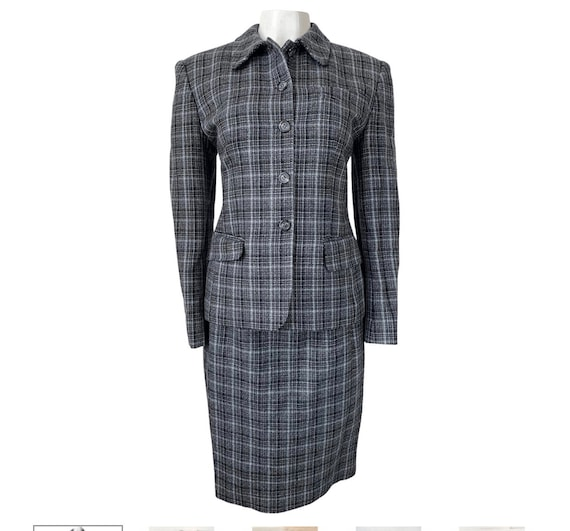 Gray Plaid Suit by Jones New York, Slim Cut Skirt and Jacket with Shoulder Pads, 80s Bladerunner Style Office Fashion, size 8
