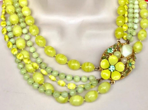 Lemon Lime & Chartreuse SIGNED SELINI Five Multi Strand Colorful Citrus Mid Century Vintage Necklace with magnificent Clasp!