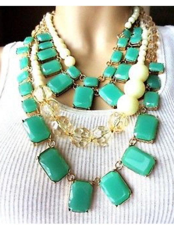 Glamorous KATE SPADE New York Signed Celadon Green Resin & Creamy Faux Pearl Runway Statement Necklace