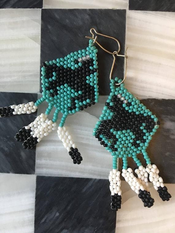 Amazing Boho Vintage 70's Western Southwestern Tribal Indigenous Style Seed Bead Earrings turquoise blue black & white