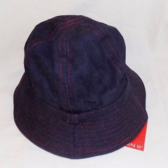 Adorable New OLD STOCK Halston Denim Jean Cotton Cloche Designer Fashion Rain Hat Sun Hat