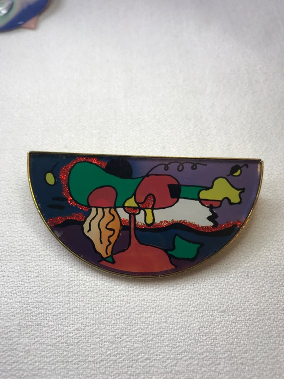 Awesome 80s Painted Glass Abstract Modern Art Semi Circle New Wave Lapel Pin Brooch