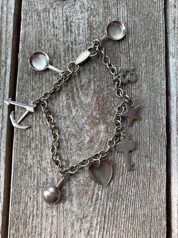 Vintage Carnival Prize Metal Trinket Charm Bracelet, Simplistic Pressed & Die Cut Metal Charms on Link chain, Tween TEEN Dime Store Jewelry