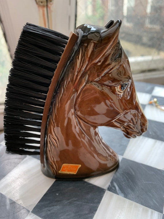 Vintage Ceramic Horse Head Shoe Clothing Brush, Dresser Top Decor, made In Japan