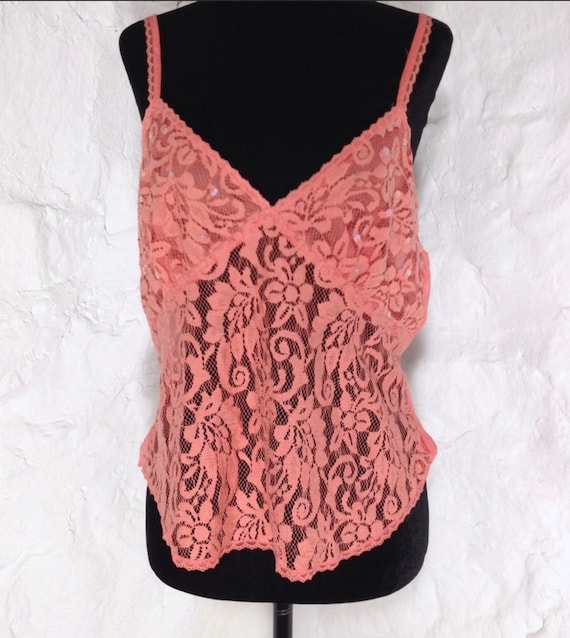 Vintage Victoria's Secret Pinky Peachy Coral Lace Tank Camisole Top
