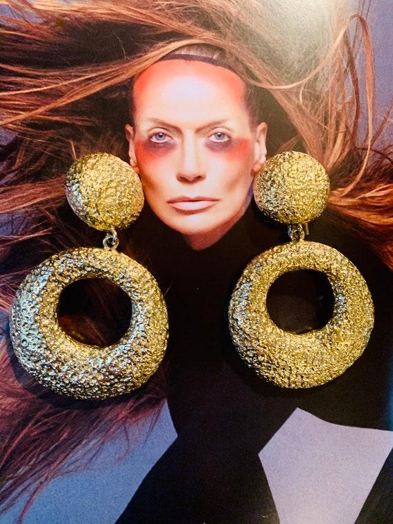 Huge Textured Golden Hoops, Dramatic Runway Statement Earrings, Summer Island Disco Vintage Earrings