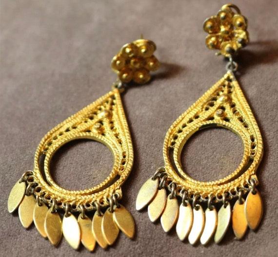 Fancier 70s East Indian Gold Plated Filigree Teardrop Hoop Chandelier Dangles, Bollywood Boho Glamour Jewelry finer quality jewelry