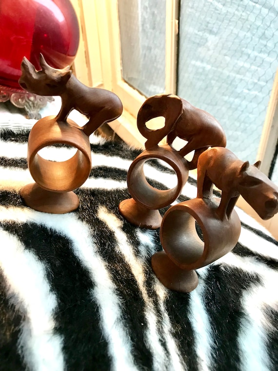Mid Century Carved Teak Wood Jungle Animal Napkin Rings, Rhino Hippo and Elephant large wooden napkin holders