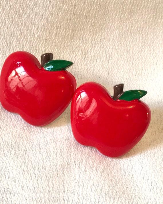 Cheerful Mid Century plastic lucite Red Apple Fruit Post Stud Earrings