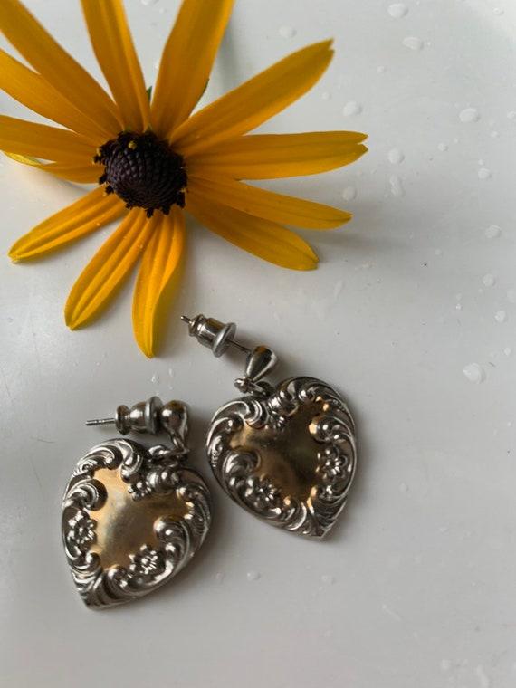 Vintage Victorian Revival Heart Dangle Earrings