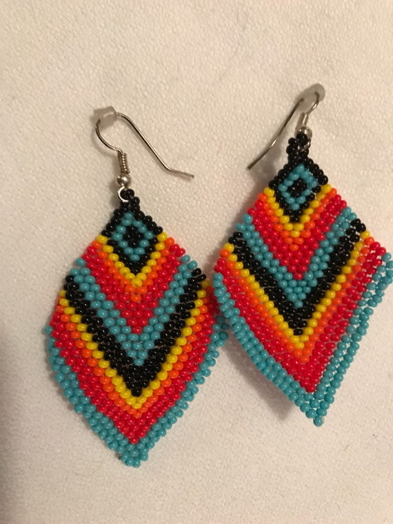 Colorful Rainbow Boho Tribal Southwestern seed bead Dangle Earrings