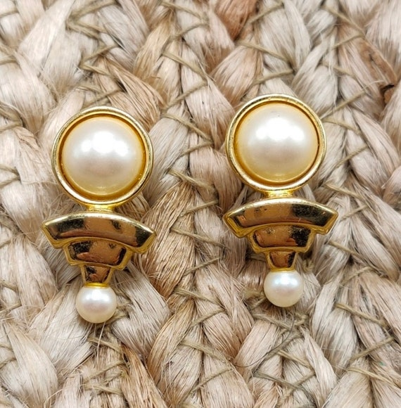 Monet Modernist Pearl Statement Earrings, Classy Vintage 80s Costume Jewelry, Geometric Art Deco Revival Large Studs
