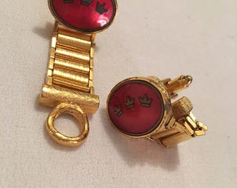 Cool Design Vintage Dante signed Red Enamel & Goldtone Regal Royal Crown Emblems Crest Cufflinks