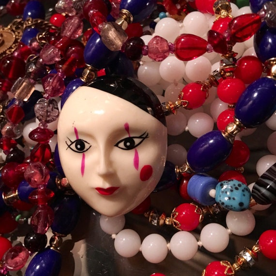 Vintage 80s Mime Face Unisex Lapel Pin Glamour Jewelry Brooch, Send in the Clowns they're highly collectible