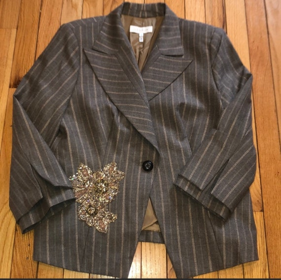 Vintage Escada Super Cool Pinstriped jacket, Floral Embellished Blazer and Neat two tiered Sleeves
