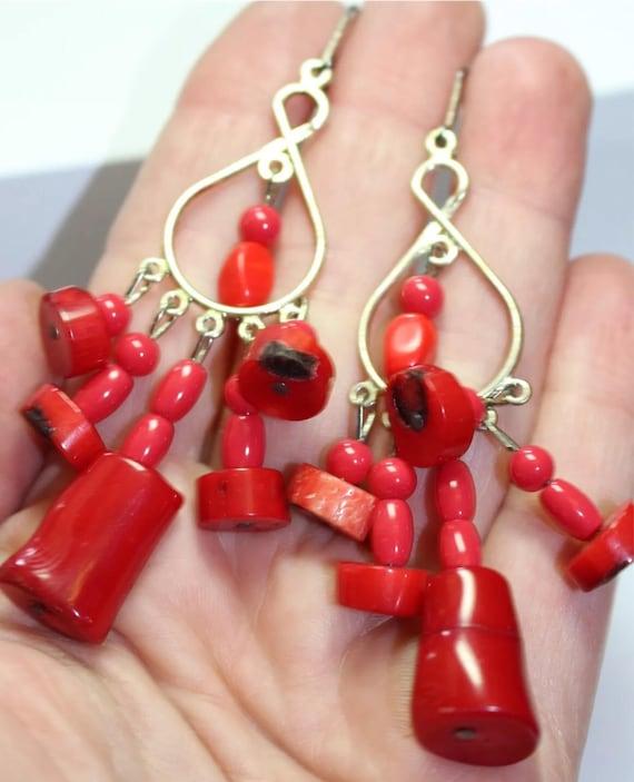 Fantastic Red Coral & Goldtone Funky Elegant Chanelier Earrings Really Nice