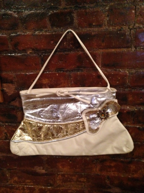 Vintage 80's cream with feminine silver & gold embossed leather glamorous accents MINT