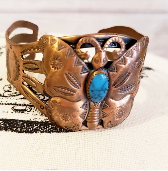 Vintage Cooper & Turquoise Butterfly Cuff Bracelet Signed