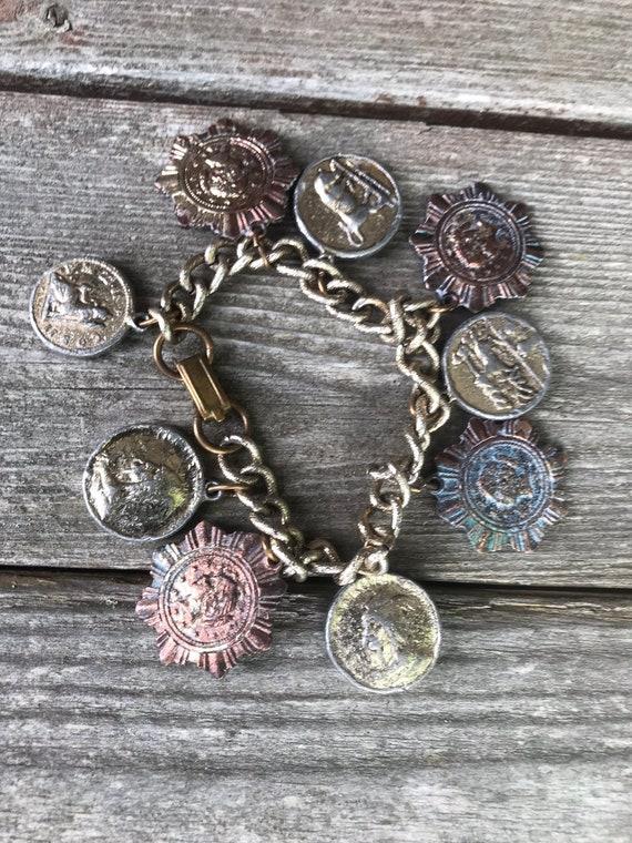 Amazing Mid Century Brutalist Distressed Faux Historic Heraldic Maltese Coin Trinket Charm Bracelet