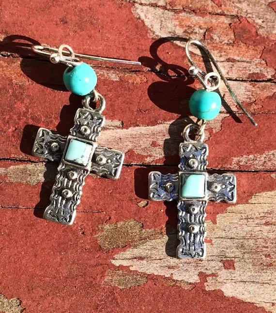 Southwestern Style Silver Tone with Blue Green  beaded Embossed Cross Dangle Earrings