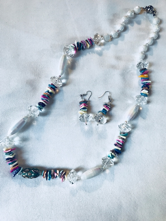 Colorful Lucite Acrylic and Plastic Beaded Abstract Modern Clear White & Rainbow Funky Necklace and Earring Set