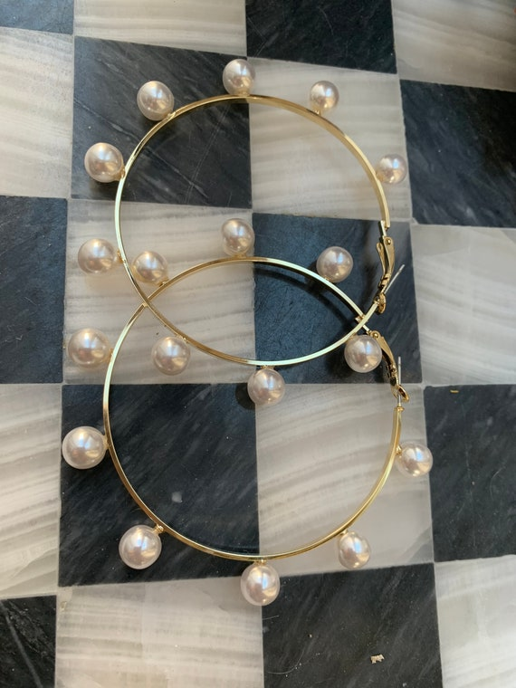 Amazing HUGE Faux Pearl Hoops, Glamour Jewelry Statement Earrings
