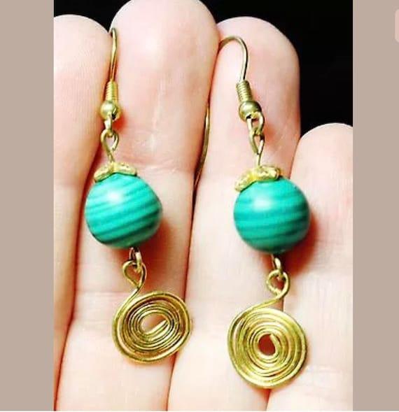 Malachite Gemstone with Goldtone Swirls Drop & Dangle Earrings