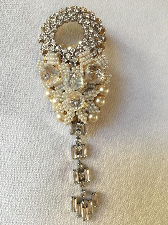 Breathtaking Beautiful Stanley Hagler NYC crystal & pearl Hand Beaded Bridal Wedding or Mother's Heirloom Brooch