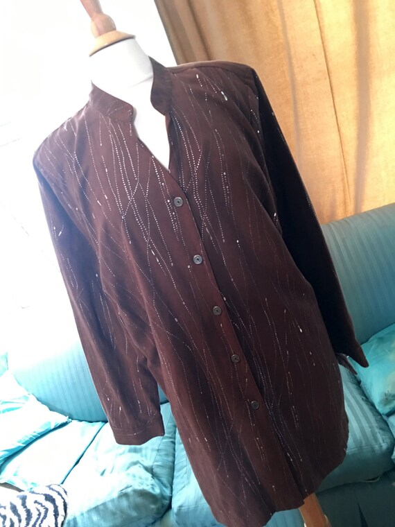Vintage Erin London ultra suede long shirt,  brown with silver Splatter 80s New Wave Oversized Blouse, Zoom Party Outfit !