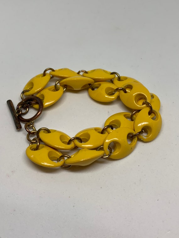 Eames Modernist marigold Yellow Link Bracelet with Bronze Tone Toggle Clasp