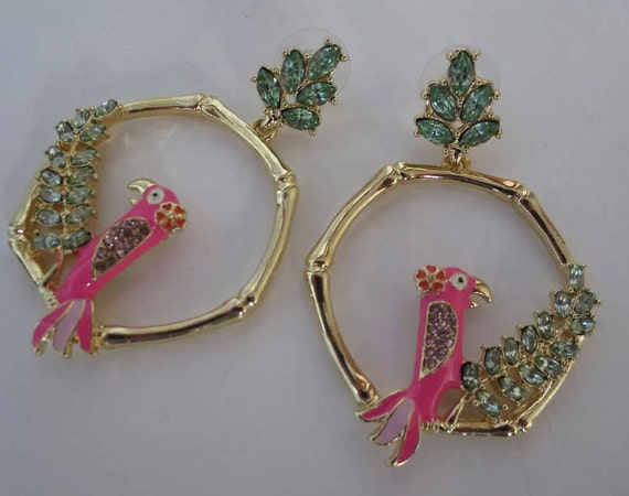 Pink Enamel Parrot Jeweled BAMBOO HOOP Statement Earrings, Oversized Runway Fashion Glamour Jewelry