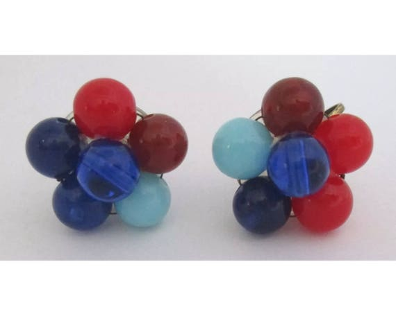 Vintage Multi Color Beaded cluster Earrings