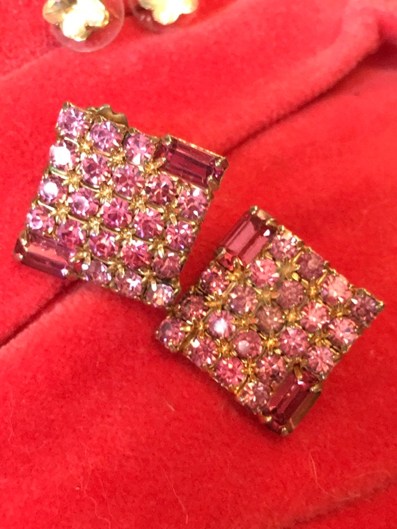 Pretty in Pink Square Art Deco Style Pink Rhinestone Vintage Clip on Earrings