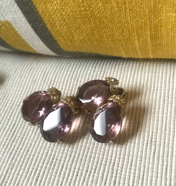 Elegant Amethyst Double Teardrop Clip Ons, Sexy Purple Crystal Gem Vintage Earrings with Chic Ice Rhinestone Accents