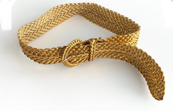 90's Glam Gold Woven Belt, 2 inches Wide, 38 inches Long, Size M