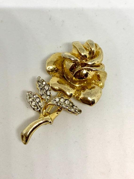 Mid Century golden rhinestone Rose Vintage Brooch, Unisex Lapel Pin, Trending alternative corsage, Boutonnière