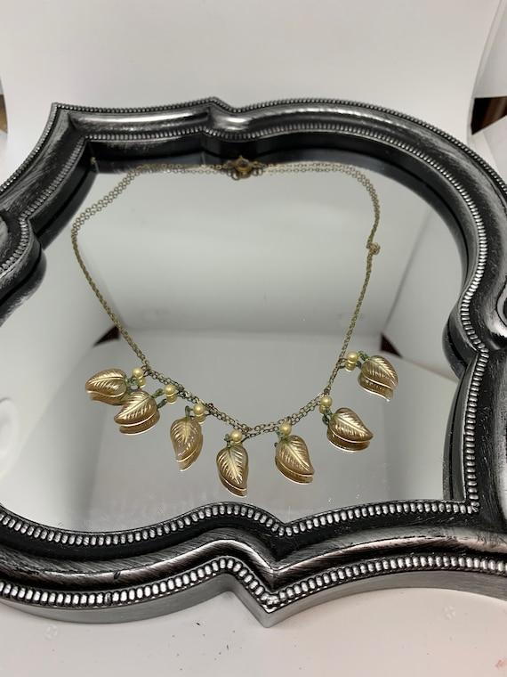 Antique Art Nouveau Glass Leaf & Faux Pearl Charm Choker Necklace