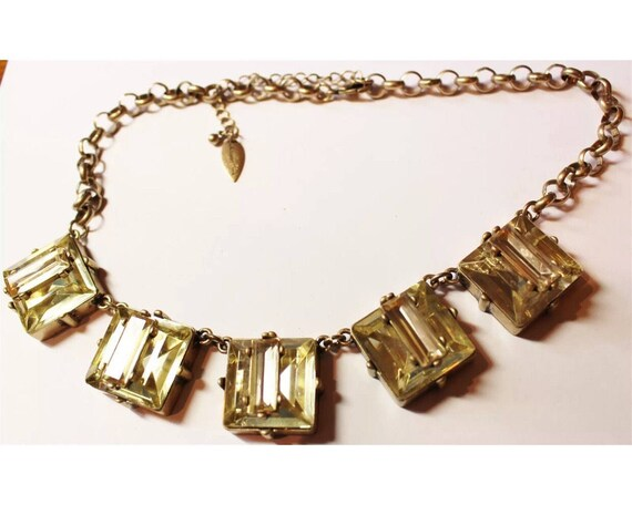 Large Champagne Emerald Cut Gem Choker Statement Necklace Signed Cold Water Creek